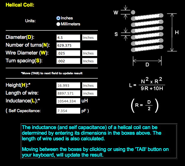 helical coil calculator